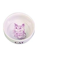 Trixie Napf m. Motiv, Katze, Keramik 0,3 l-Ø 11 cm, weiß