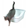 Trixie Cleany Cat Katzentoilette mit Rand, 45 × 21 (29) × 54 cm, granit-weiß